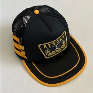Vintage black and yellow miners hat